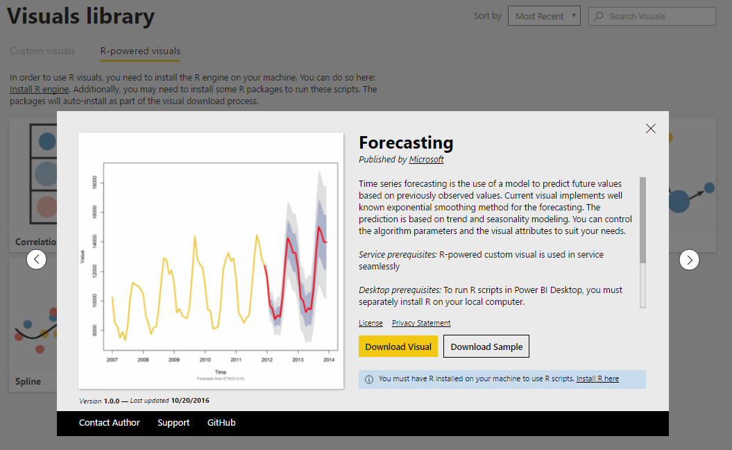 forecastingCustomVisual Power BI Desktop October Feature Summary